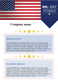 4th of July Email Template Flag Patriotic Summer Email Marketing